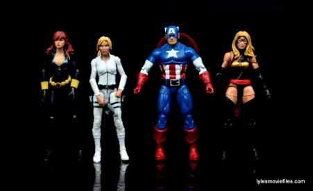 Marvel Legends Sharon Carter figure review - scale with Black Widow, Captain America and Ms. Marvel