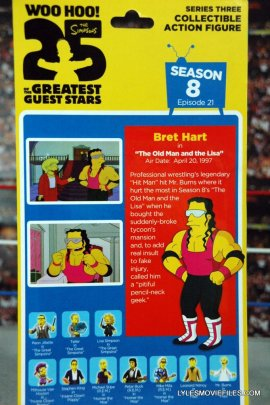 The Simpsons NECA Bret Hart - package back