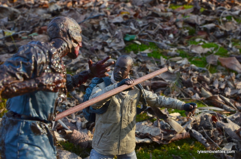 The Walking Dead Morgan Jones McFarlane Toys figure review -battling walker