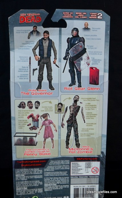 The Walking Dead The Governor McFarlane Toys review -rear package