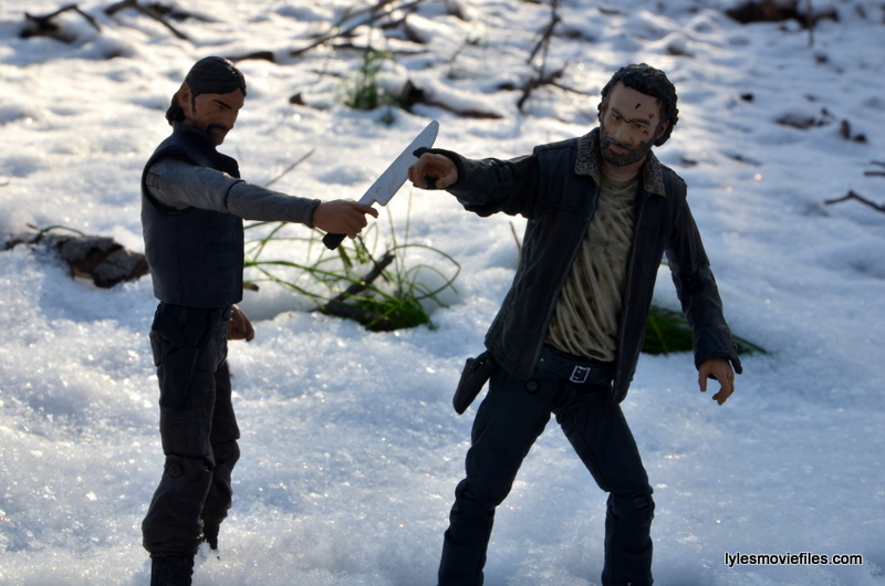 The Walking Dead The Governor McFarlane Toys review -slicing Rick Grimes' hand