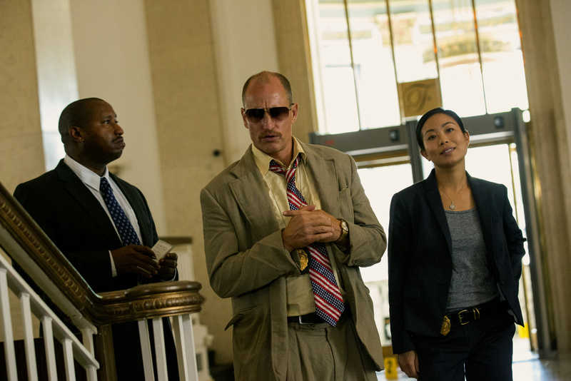 (Left to right) Terence Rosemore, Woody Harrelson and Michelle Ang in TRIPLE 9.