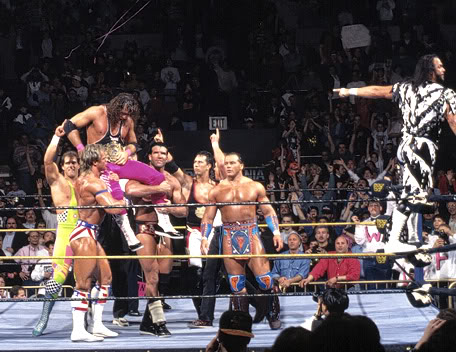 wrestlemania 10 - bret hart celebrates with WWF roster