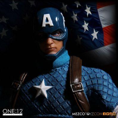 Captain America Mezco Toys 1-12 figure -flag backdrop