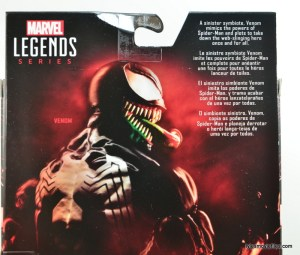 Marvel Legends Venom figure review - bio closeup
