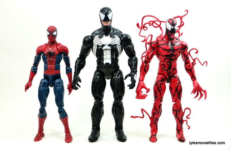 Marvel Legends Venom figure review - scale with Spider-Man and Carnage