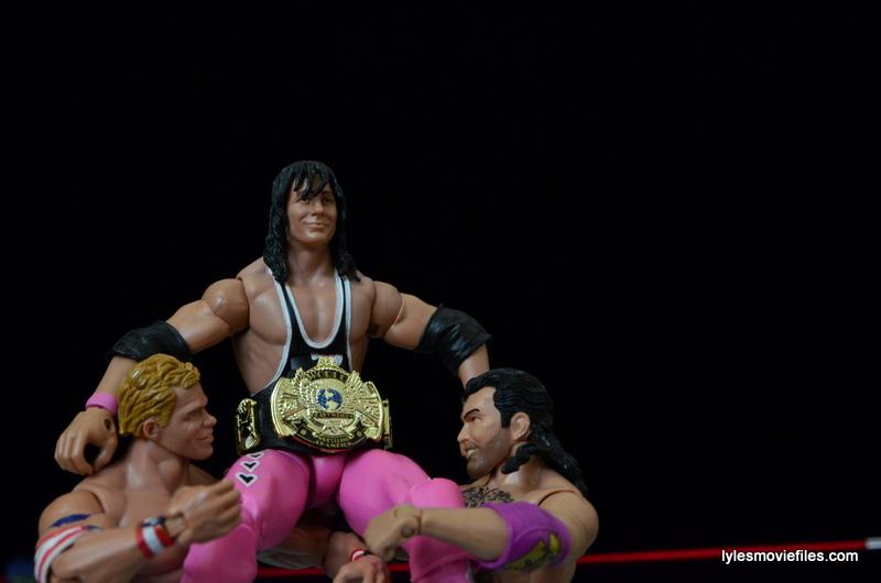 Wrestlemania 10 - Lex Luger and Razor Ramon lift up Bret Hart
