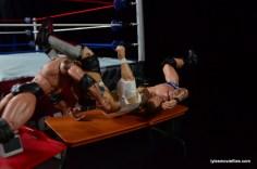 Wrestlemania 30 - Daniel Bryan vs Randy Orton vs Batista - Bryan goes through the table