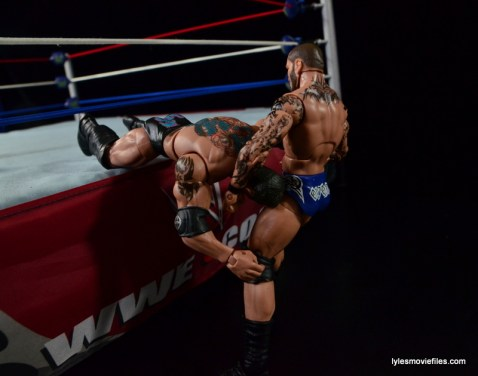 Wrestlemania 30 - Daniel Bryan vs Randy Orton vs Batista -outside draping DDT