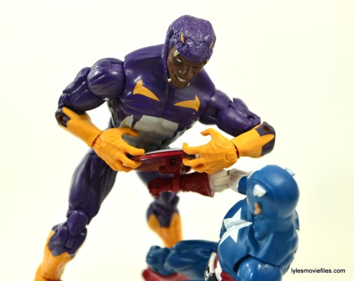 Marvel Legends Cottonmouth figure - grabbing Captain America's shield