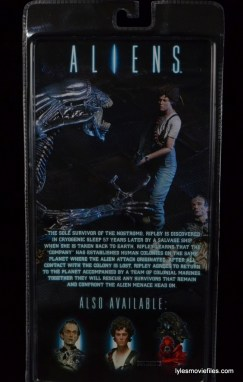 NECA Aliens Ellen Ripley figure - back package