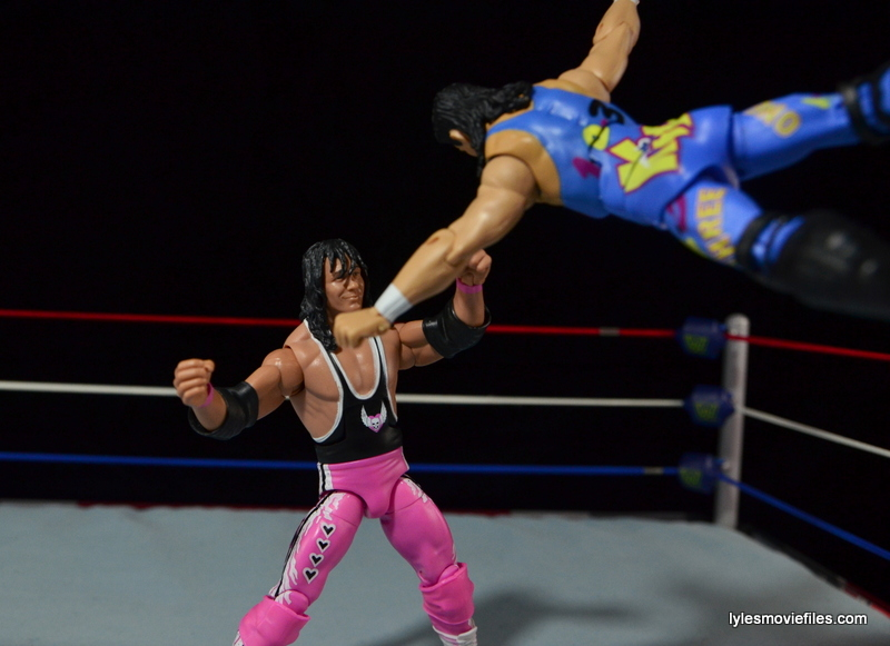 WWE 123 Kid figure review - diving at Bret Hart