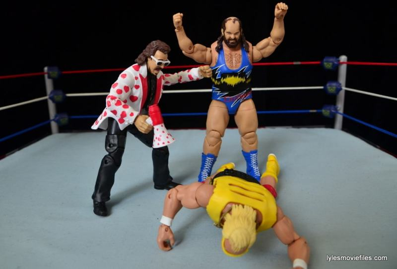 WWE Hall of Fame Jimmy Hart figure -celebrating with Earthquake over Hulk Hogan-min