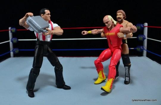 WWE IRS Mattel Elite figure review -Money Inc about to take out Hulk Hogan
