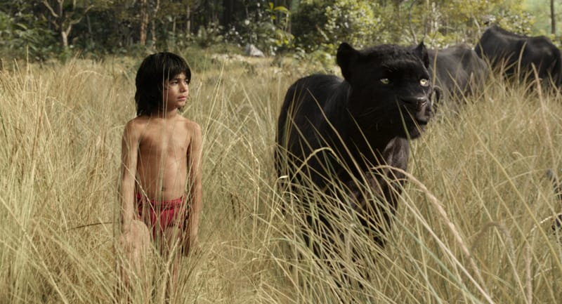 the jungle book review - Bagheera and Mowgli-min