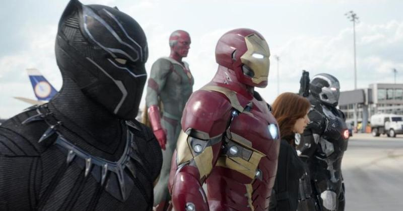Captain America Civil War pictures - Black Panther, Vision, Black Widow, Iron Man and War Machine