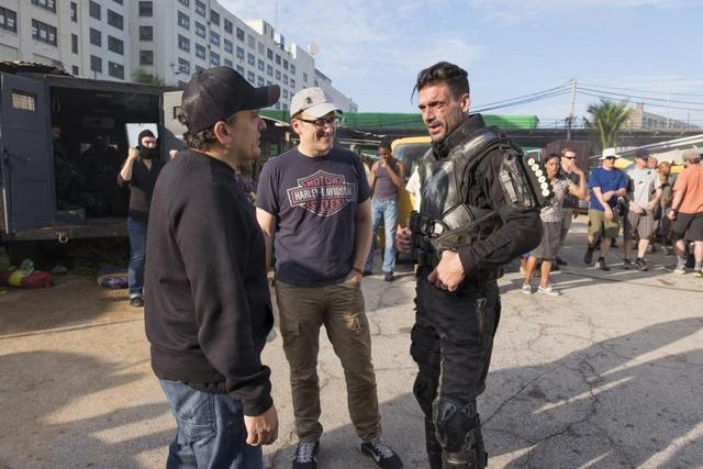 Joe and Anthony Russo on Captain America Civil War set with Frank Grillo