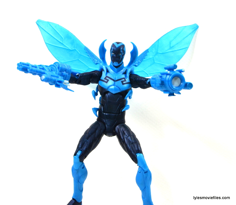 DC Icons Blue Beetle figure review -guns and wings out