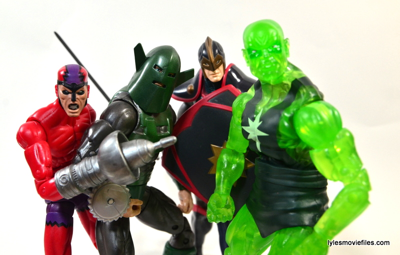 Marvel Legends Whirlwind figure review -Masters of Evil Klaw, Radioactive Man and Black Knight