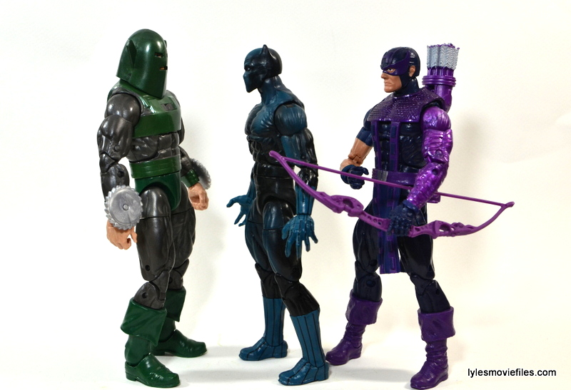 Marvel Legends Whirlwind figure review -scale with Black Panther and Hawkeye