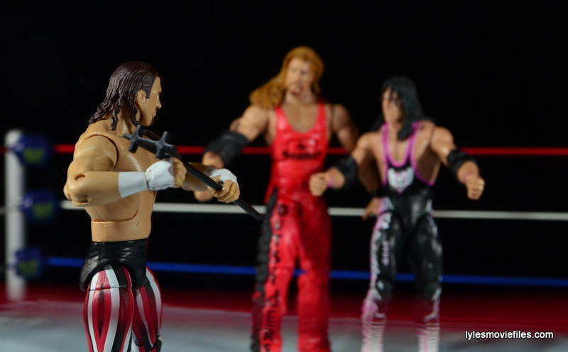 WWE Elite 41 Terry Funk figure review -facing off with nWo Kevin Nash and Bret Hart