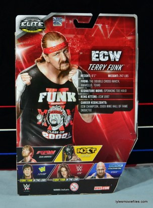 WWE Elite 41 Terry Funk figure review -rear package