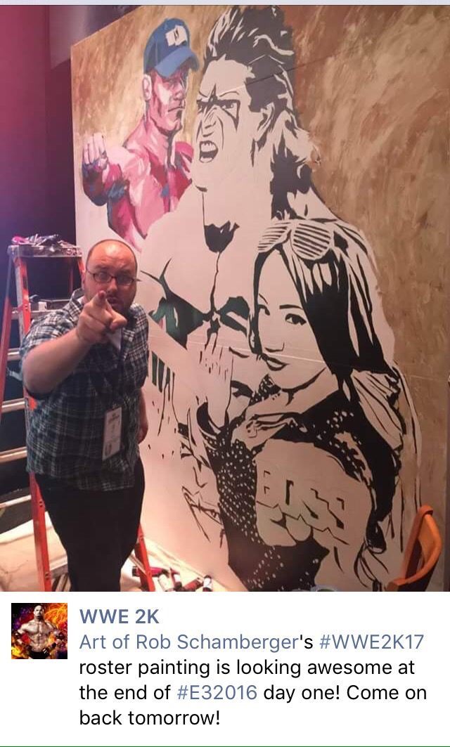 WWE2K17 cover art John Cena, Ultimate Warrior and Sasha Banks
