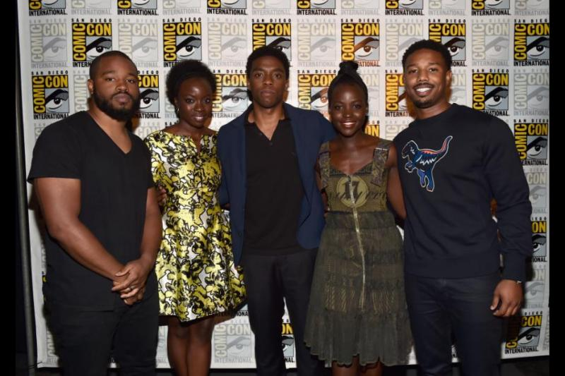 Black Panther cast - Ryan Coogler, Danai Gurira, Chadwick Boseman, Lupita Nyong'o and Michael B. Jordan