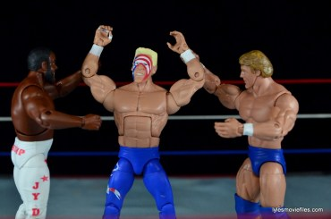 Sting Defining Moments figure review - celebrating with Junkyard Dog and Paul Orndorff
