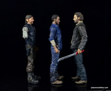 The Walking Dead Lee Everett McFarlane Toys figure -facing Rick Grimes and The Governor