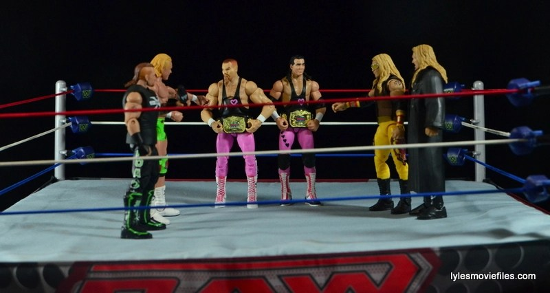 WWE Elite 43 Hart Foundation figures - face off with New Age Outlaws and Edge and Christian