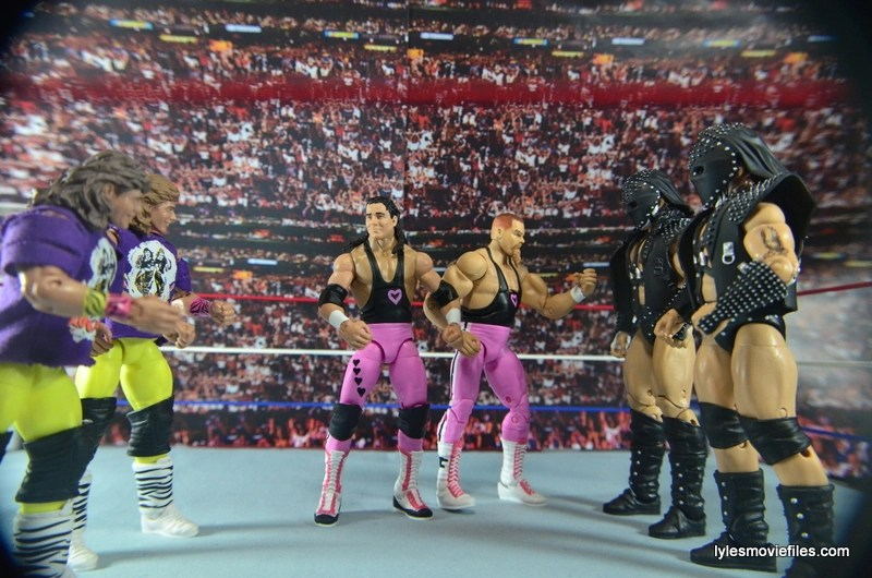 WWE Elite 43 Hart Foundation figures -face off with The Rockers and Demolition
