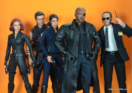 Hot Toys Maria Hill figure - with Black Widow, Hawkeye, Nick Fury and Agent Coulson