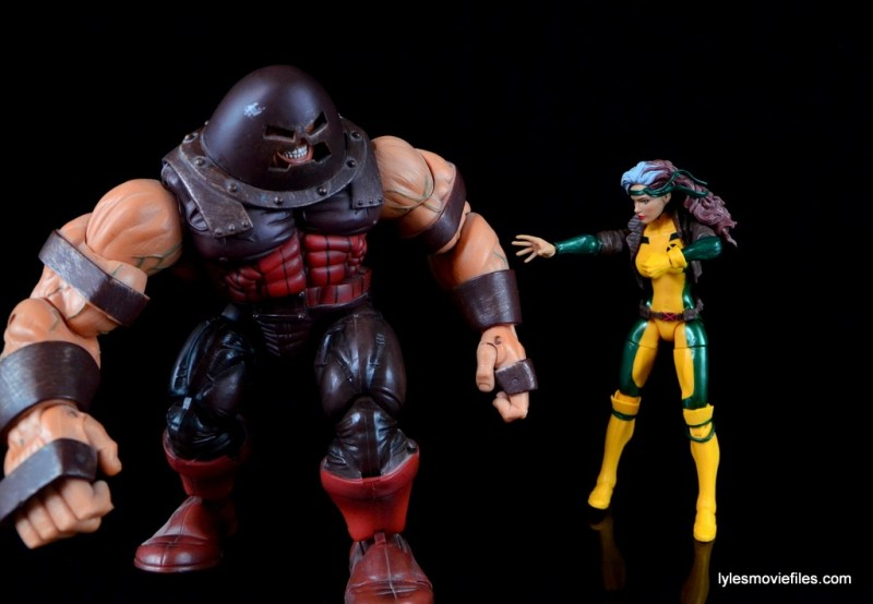Marvel Legends Rogue figure review - Rogue touching Juggernaut