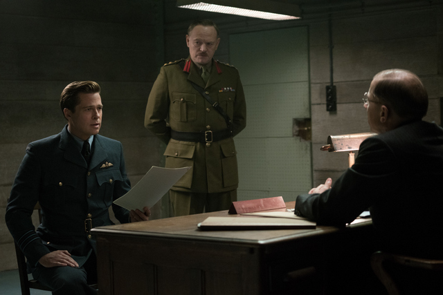 Allied movie picture of Brad Pitt and Jared Harris