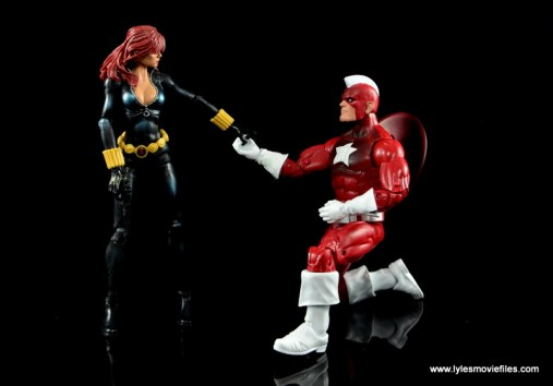 Marvel Legends Red Guardian figure review - kneeling with Black Widow