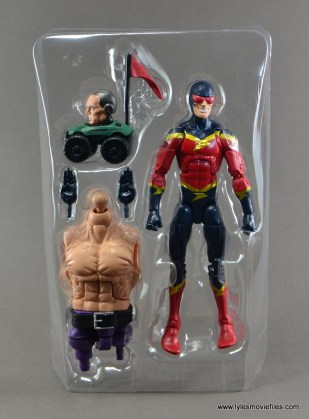 Marvel Legends Speed Demon figure review - figure and accessories in tray