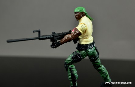 GI Joe Heavy Conflict Heavy Duty and Stiletto figure review - Heavy Duty aiming machine gun side