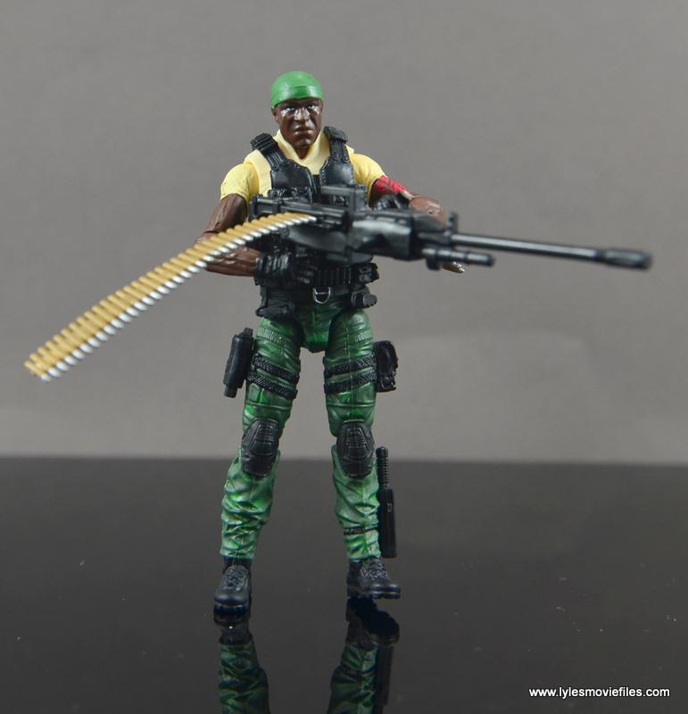 GI Joe Heavy Conflict Heavy Duty and Stiletto figure review - Heavy Duty holding machine gun with ammo belt