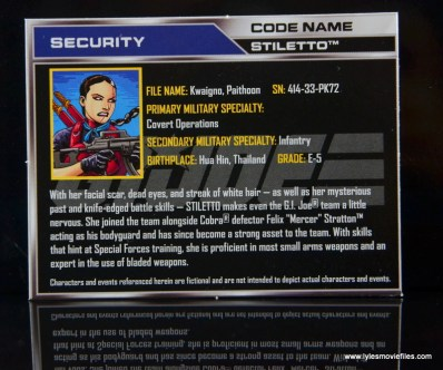 GI Joe Heavy Conflict Heavy Duty and Stiletto figure review - Stiletto file card