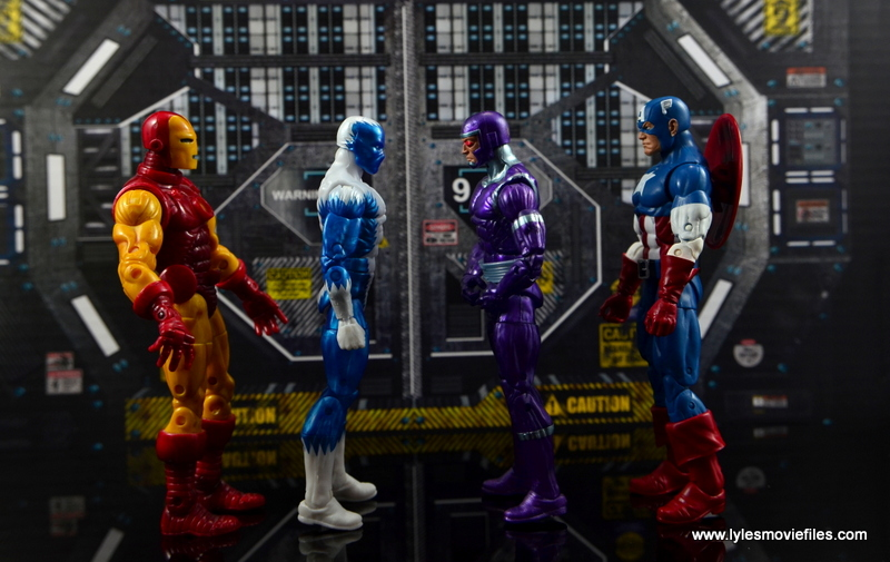 Marvel Legends Blizzard figure review - scale with Iron Man, Machine Man and Captain America
