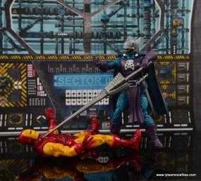 Marvel Legends The Raft figure review Dreadknight - beaten Iron Man