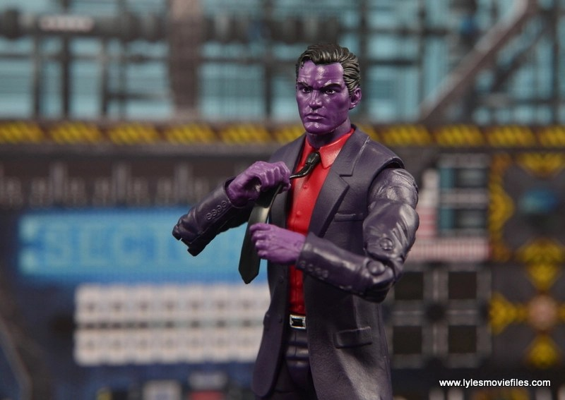 Marvel Legends The Raft figure review - The Purple Man fixing tie