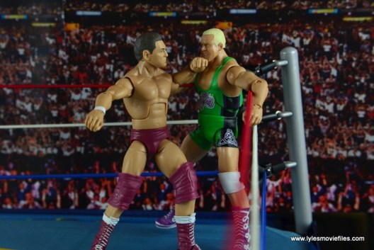 WWE Elite 45 Steve Regal figure review -backing Finley into corner