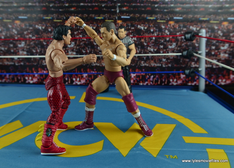 WWE Elite 45 Steve Regal figure review - locking with Ricky Steamboat
