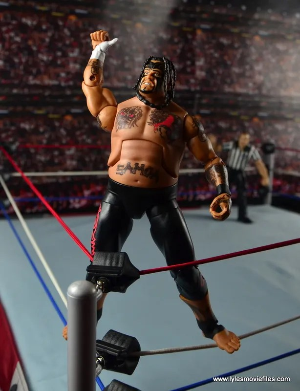 WWE Elite 40 Umaga figure review - on turnbuckle
