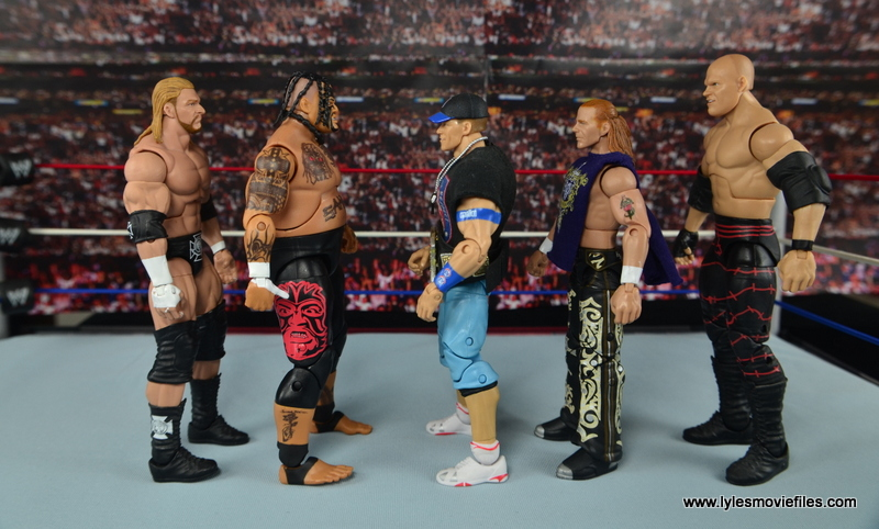 WWE Elite 40 Umaga figure review - scale with Triple H, John Cena, HBK and Kane