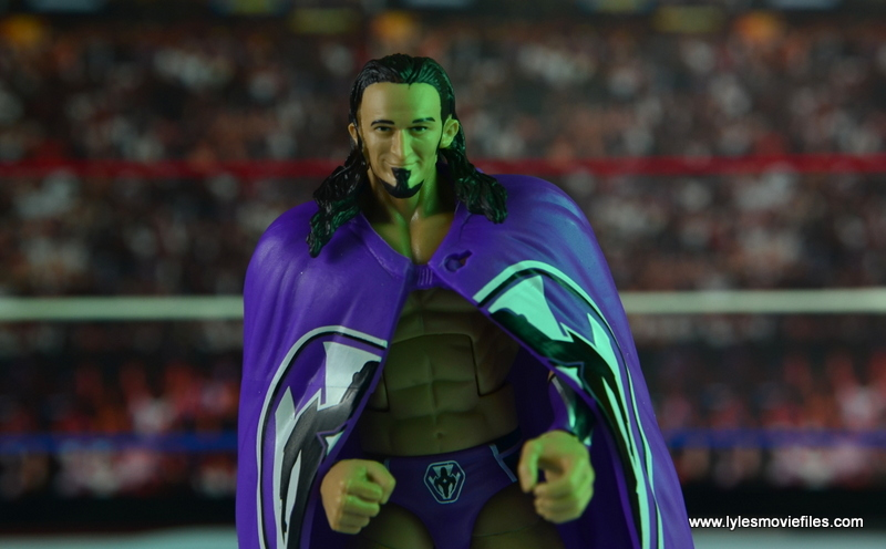 WWE Elite 42 Neville figure review - cape range of motion