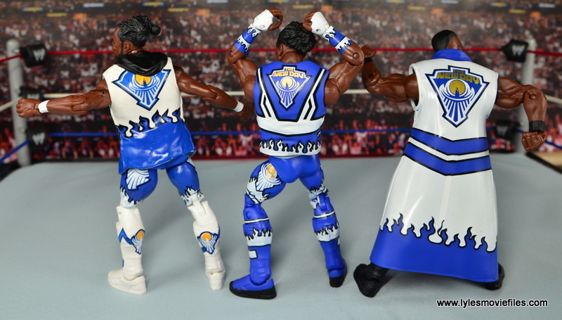 WWE Elite New Day figure review - New Day showing the back of their outfits