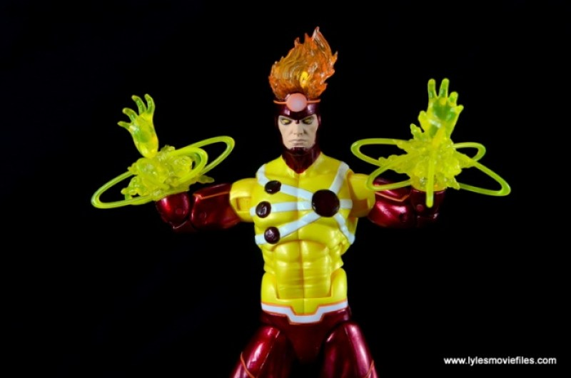 DC Icons Firestorm figure review - nuclear blasts hands up